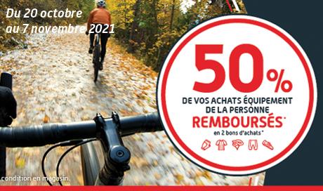 Bénéficiez de 50 pourcent remboursés sur vos équipements cycliste dans les magasins Mondovélo Chambéry, Annecy et Grenoble