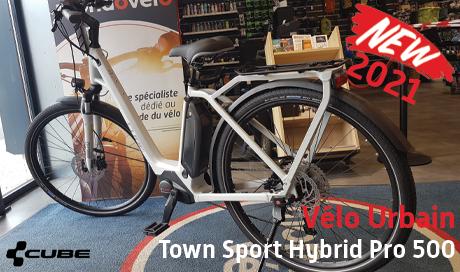 Nouveauté 2021 - le VAE urbain CUBE Town sport Hybrid est cheé Mondovélo