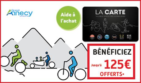 Les magasins de vélo MONDOVELO Annecy Epagny Seynod  vous offre jusqu'à 125€ en plus de l'aide Grand Annecy avec son programme fidélité